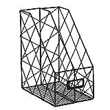 Waroomss Desktop Magazin Datei Halter mit Etiketten, Doppelte Grids Metall Mesh Draht Regal Office Storage Bücherregal Storage Organizer Rustikales Industriedesign Schwarz