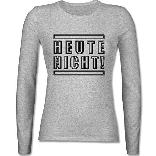 Statement Shirts - Heute nicht! - tailliertes Longsleeve / langärmeliges T-Shirt für Damen Grau Meliert