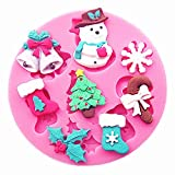 Christmas Cake Mold,Bescita Red Christmas Cake 3D Silicone Stencils Cookie Latte Stencil Coffee Cake Mold (Pink)