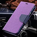 Thinkzy Artificial Leather Flip Cover Case for Samsung Galaxy M10 (Purple, Blue)