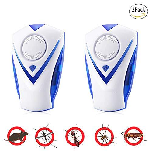 PXQ 2-in-1-Ultraschall-Schädlingsbekämpfer Elektronisches Plug-in-Indoor-Nachtlicht, Zapper für Schädlingsbekämpfung, Bettwanzen, Fruchtfliegen, Mücken, 100% sicher für Menschen und Haustiere,EU,2PC
