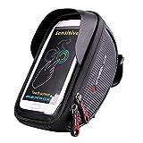 Yinsili Borsa Bicicletta Impermeabile, Supporto per Telefono Bicicletta Borsa Manubrio Bici, altamente sensibile Touch Screen TPU Phone inferiore 6 inch, titolare di Cellphone & GPS (Nero)