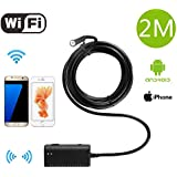 NuteDawn Endoscopio Wifi Wireless iOS iPhone Android boroscopio endoscopio cámara 2.0 megapíxeles HD 6 Leds 9mm tubo de 720p IP66 impermeable cámara de inspección de serpiente para el iPhone Samsung Smartphone (ZN64)