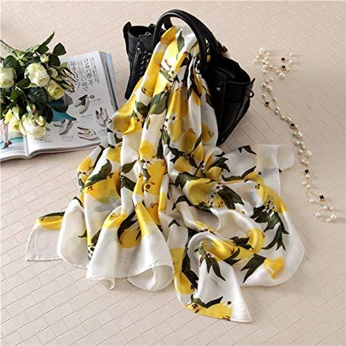 ALPNXZ Seidenschal Damen Reiner Seide Schal Lemon Tree Floral Schal Print weichen Schals Summer Beach Hijab -