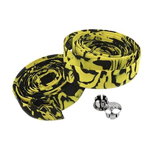 Romote Rennrad/Fahrrad Cork Lenkerband/Wrap w/2 Bar Plugs - Gelb mit Schwarz