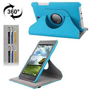 360 Degree Rotation Denim Texture Flip Leather Case with Holder & Credit Card Slots for ASUS FonePad ME371 (Blue)