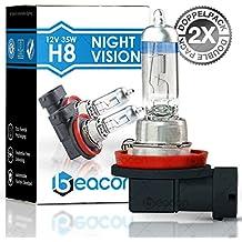 Beacon H8 NightVision Faros Bombillas - una clara visibilidad en la niebla, la lluvia, la nieve y las carreteras mojadas – Cabe en cualquier vehículo con toma de lámpara H8 PGJ19 (12V 35W) para Luces largas y luces de cruce, incluyendo el permiso de vialidad y su doble Caja ecológica