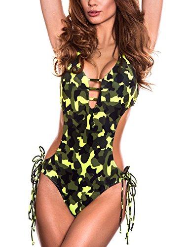 RELLECIGA Damen Bademode MONOKINI Badeanzug Schnürchen Neon Camouflage S (Badeanzug Bademode Camouflage)