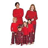 Hzjundasi Weihnachten Familie Matching Lange Ärmel Bluse und Plaid Lange Hosen Pyjama Set - Xmas PJs Schlafanzüge Nachtwäsche Feiertag Suit für Dad Mom Kinder Baby