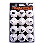 GEWO 3-Stern Handlichen 12er Pack Tischtennisball, Weiß, 40 mm