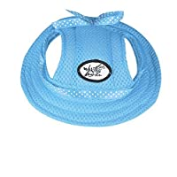 ONEDONE Princess Mesh Style Sun Hat with Ear Holes for Small Dogs and Cats(blue)