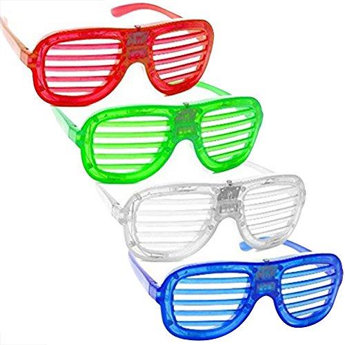 Skitic 4 Piece Unisex Fashion LED Brille Glow Kühle Blinkende Gläser Geschlitzt Shutter Shades Leuchten Glasses Funny Eyewear für Erwachsene und Kinder Party Tanzen Nacht Pub Bar Klub (Beste Gruppe Halloween Kostüme Große)