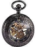 AMPM24 Steampunk Skeleton Mechanical Copper Fob Retro Pendant Pocket Watch + AMPM24 Gift Box WPK164