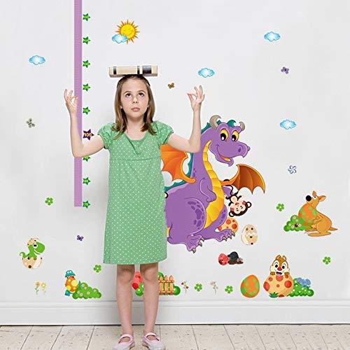 ELGDX Sticker Mural Dessin animé Dinosaure Grandir Hauteur Mesure Règle Pépinière Enfants Chambre Enfants Amovible Autocollant Autocollant Mural