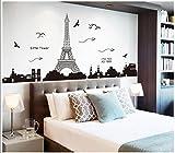 QINGTIE Etiqueta engomada desprendible Sala de Estar Elegante Dormitorio Sofá Pegatinas de Pared de Fondo Torre Eiffel en París, 60 * 90cm