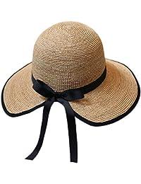 Cappello - Ladies Summer Travel Sun Visor Seaside Holiday Cappello Anti-UV Beach  Pieghevole e Traspirante Moda Cappello di Paglia… dc615258f613