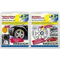 Set di riparazione per cerchi in lega alu metallico + Vernice per pneumatici Nero Indipendentemente dalla marca o dal produttore