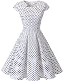 Homrain Damen 50er Vintage Retro Kleid Party Rockabilly Cocktail Abendkleider White Small Black Dot 3XL