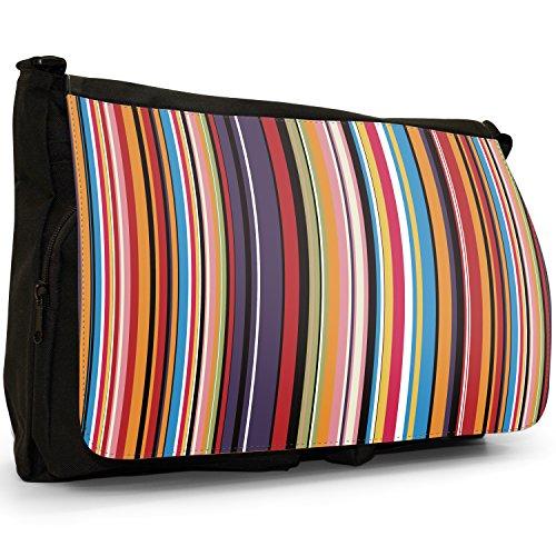 Fancy A Bag Borsa Messenger nero Hippy Pattern Modern Stripes Brown Cream