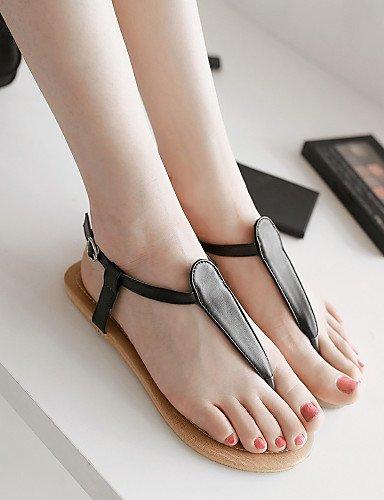 LFNLYX Chaussures Femme-Habillé / Décontracté-Noir / Blanc / Beige-Talon Plat-Confort / A Bride Arrière-Sandales-Similicuir Black