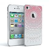 EAZY CASE Hülle für Apple iPhone 4 / 4S Schutzhülle Silikon Mandala Design Slimcover Henna, Handyhülle, TPU Hülle/Soft Case, Silikonhülle, Backcover, indische Sonne, transparent, Pink/Weiß