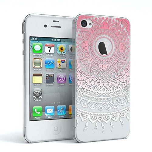Apple iPhone 4 / 4S Schutzhülle Silikon Mandala Design I von EAZY CASE I Slimcover Henna, Handyhülle, TPU Hülle / Soft Case, Silikonhülle, Backcover, indische Sonne, transparent, Pink/Weiß