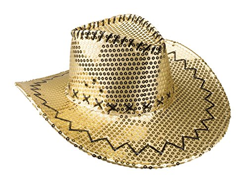 Faschingsfete Damen Karnevalsaccessoire - Cowboyhut mit Pailletten+Nähten, Gold