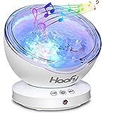 Haofy Sternenhimmel Projektor Lampe, 12 LED Ozeanwelle Projektor Licht Schlaf Nachtlicht Lampe mit Multifunktionale Fernbedienung (Musik-Eingang /6Lichtmodi/4 Naturklänge eingespeicher), Fernbedienung