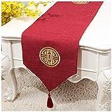 MeiMei Chinesische Retro Tisch Tischfahne Tuch Stickerei Einfarbig Couchtisch Flagge (4 Styles Jeweils 4 Größen verfügbar) (Color : Red, Größe : 33X150CM)
