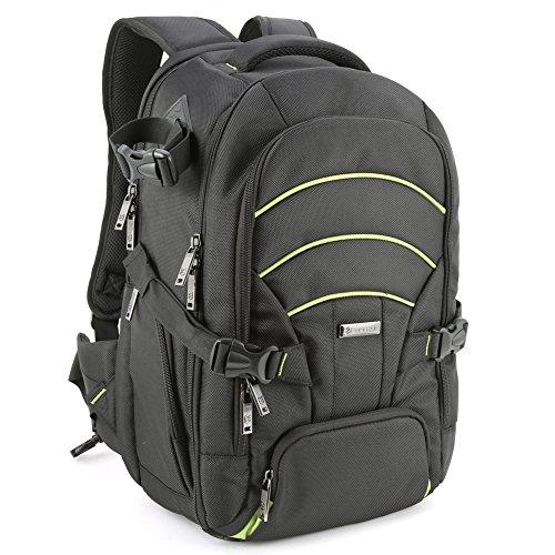 Zaino per fotocamera, evecase backpack grande fotogarfico in nylon zaino da viaggio con copertura parapioggia per fotocamera digitale, fotocamera dslr reflex, laptop pc fino a 15.6 pollici - verde/nero
