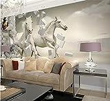 Papier Peint 3D Personnalisé Murale Papier Peint Blanc Cheval Salon Canapé Toile De Fond Wallapper Pour Murs Papier De Contact 3D, 430 * 300Cm
