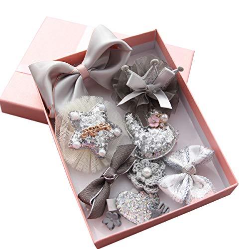 ZhengYue Haarspangen Haarbögen für Mädchen Baby Haar Clip für Kinder Boutique Haarklammern Haarschmuck Set mit Geschenkbox für Kleinkind Barrettes 10pcs Grau (5 Boutique Bows Hair)