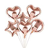 Globos de Fiesta, estrella, corazón, formas redondas de helio hoja de helio globos 46.7 cm 6 piezas de papel globos para decoraciones de boda de fiesta de cumpleaños Festival Baby Shower graduación