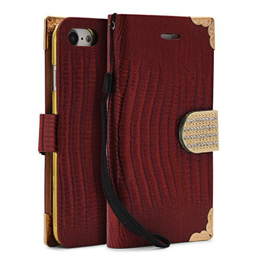 iPhone 7 Étui, Urcover Crocodile Bling Wallet Case [avec Support -Stand] Housse Rouge Coque Apple iPhone 7 Fermeture Magnétique Rouge