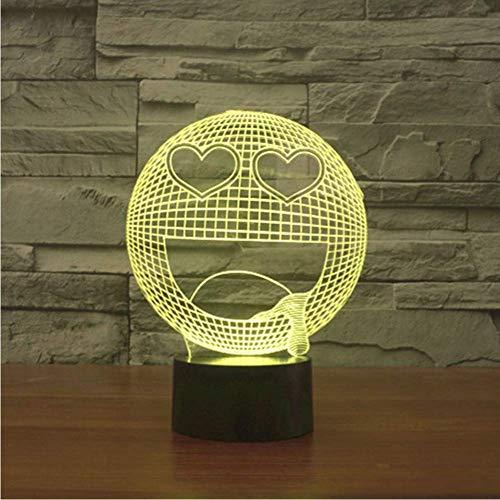 uchtung 3D Tischlampe Star Eye Happy Q Sabbern Lächeln Gesicht Schlafzimmer Ausdruck Nachtlicht Für Kinder Geschenke Dekor ()