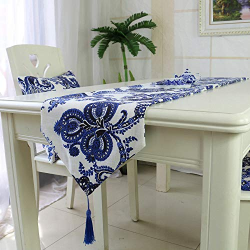 FeiFei156 Chinesische Leinen Plus Dicke Sardellen Grün Blume Tisch Tuch Kunst Doppeltisch Tisch Flagge Hotel Bett Flagge Einseitige Blume 32 x 180cm -
