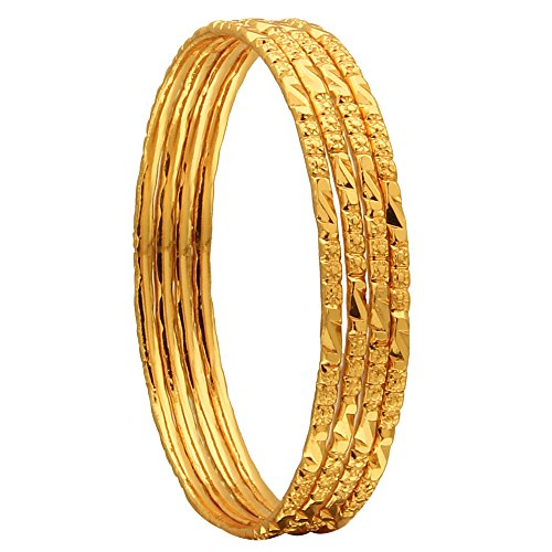 Sasitrends 1 GramGold Plated Thin SizeDailyWearable Bangles forWomen- Set of 4 (2.4, Design 9)