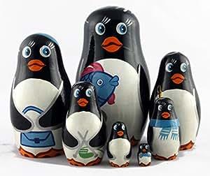 Pingouins sculpture sur bois figurine jouets matriochka poupée gigogne art 7pc