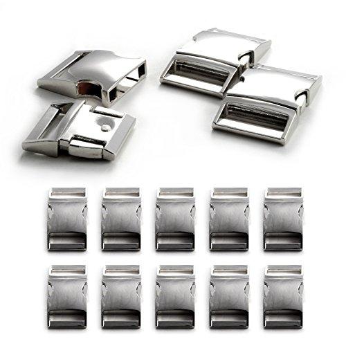 """Fermoir à clip en métal allié, idéal pour les paracordes (bracelet, collier pour chien, etc), boucle, attache à clipser, grandeur: XL, 1"""", 50mm x 30mm, couleur: argent, de la marque Ganzoo - lot de 10 fermoirs"""