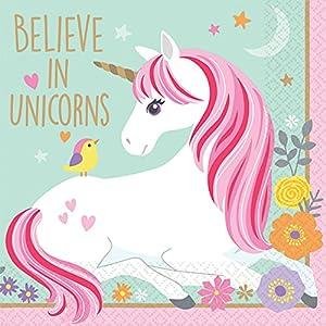 Amscan International-Servilletas de 501929beverage-printedbn mágico Unicorn