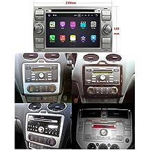 (Plateado) 7 pulgadas 2 Din Coche Radio Android 7.1 OS para Ford Focus(2005-2007)/Fiesta(2005-2008)/Kuga(2008-2011)/Mondeo(2003-2007)/S-MAX(2007-2009)/C-MAX(2007-2009)/Galaxy(2005-2007)/Fusion(2006-2011),1024x600 Pantalla Táctil Capacitiva con 1.6G de la Cortex A9 Quad Core CPU 16G y 2G DDR3 RAM Flash GPS Navi DVD 3G/WIFI OBD2 Aux Entrada USB/SD DVR