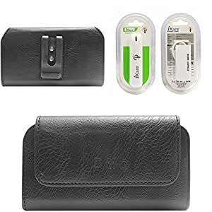 DMG Premium PU Leather Cell Phone Pouch Carrying Case with Belt Clip Holster for Micromax Canvas Sliver 5 Q450 (Black) + 2600 mAh Power Bank