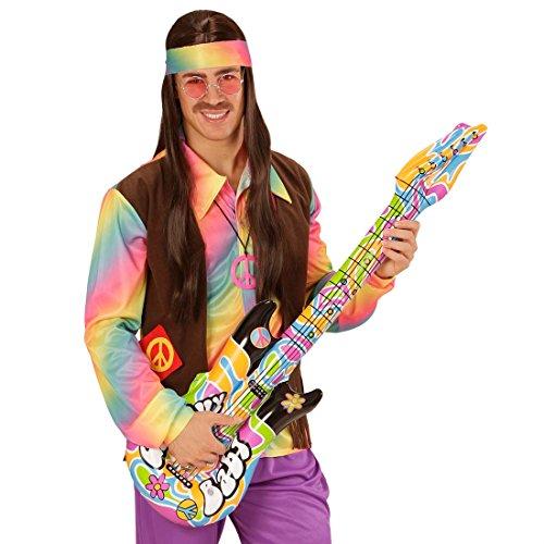 NET TOYS Guitarra Hippie para hinchar Guitarra de Aire Groovy 105cm Complemento rockero para inflar Instrumentos de Estrella de Rock Instrumento Musical de Aire Complementos Disfraz sesentero