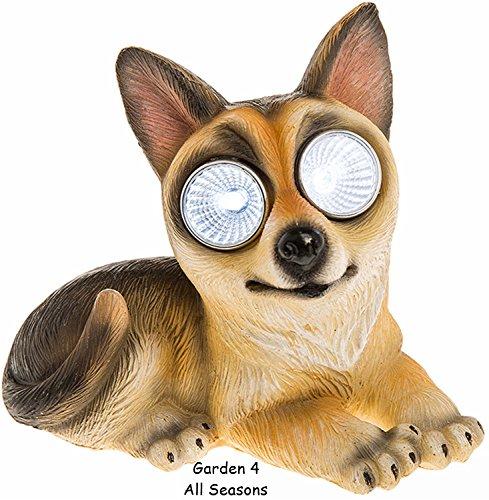 BRIGHT EYES/Deutscher Schäferhund Hund-Neuheit Solar Garten Licht-Bright Weiß led Augen