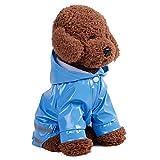 Alxcio Hund Regenmantel Haustier Regenmantel Hunderegenmantel mit Kapuze Kragenloch Sicheren Reflektierenden Streifen 100% Wasserdichte Regenjacke für Klein Mittel Hunde Pudel Haustier - Blaue, S