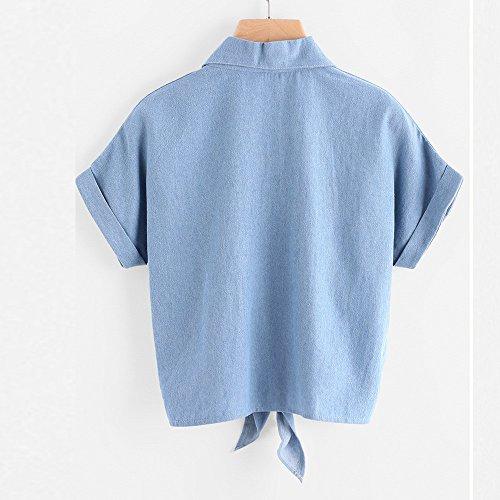 Vovotrade Blouse Femme Dames Rose Fleur Broderie Blouses Chemise Manches Courtes Bleu