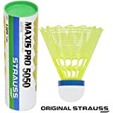 Strauss Maxis Pro Nylon Shuttlecock, Pack of 6 (Yellow)