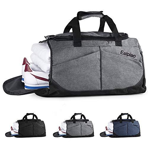 Bolsa de Deporte con Compartimento para Zapatos Viaje Impermeable Plegable Bolsa Gimnasio de Viaje Mochila Multiusos Travel Duffle Bag (Gris)