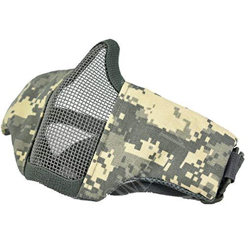 QMFIVE Tactical Maske, Stahl Halbmaske und Verstellbare Elastische Band Faltbare Half Face Maske Schutzmaske Maske für Airsoft Paintball CS(ACU) (Airsoft-schutzbrillen Acu)