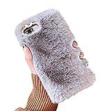 Misstars Plüsch Hülle für iPhone 6S, Niedlich Flauschige Winter Warme Faux Pelz Handyhülle Weiche TPU Backcover mit 3D Bling Kristall Diamant Schutzhülle für iPhone 6 / 6S (4,7 Zoll), Grau